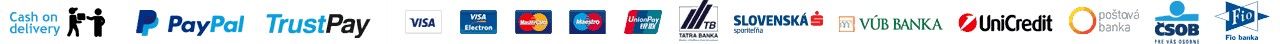 PayPal, TrustPay, Cash On Delivery, Visa, MasterCard, Dinners Club International